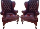 vintage dark red leather smoking chair sets