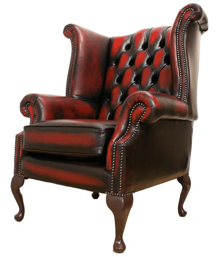 vintage red tufted leather smoking chair