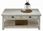 white distressed wood coffee table with drawers