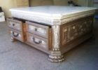 white distressed wood coffee table with storage