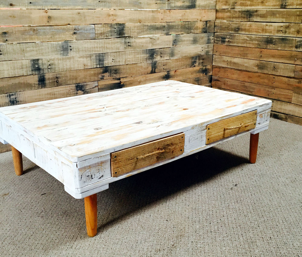 white diy wood pallet coffee table for sale with storage