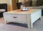white rustic distressed dark wood coffee table