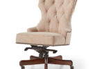 white tufted faux top grain leather office chair