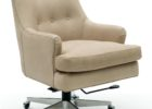 white tufted top grain leather office chair