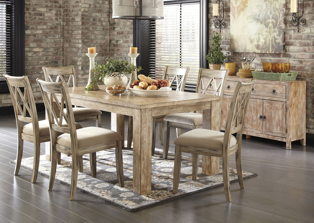 white wash dining room table set