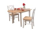 white washed narrow dining tables with leaves and chairs