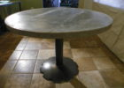 wood round zinc top round dining table 42 inch diameter