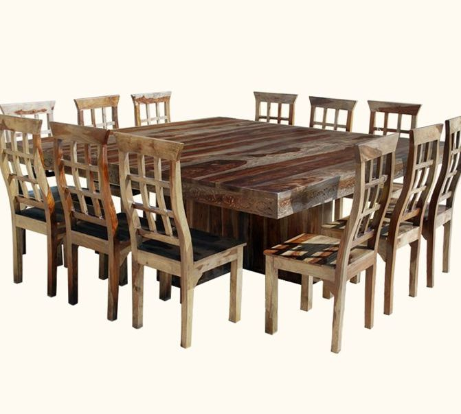 wood square extra long dining table seats 12