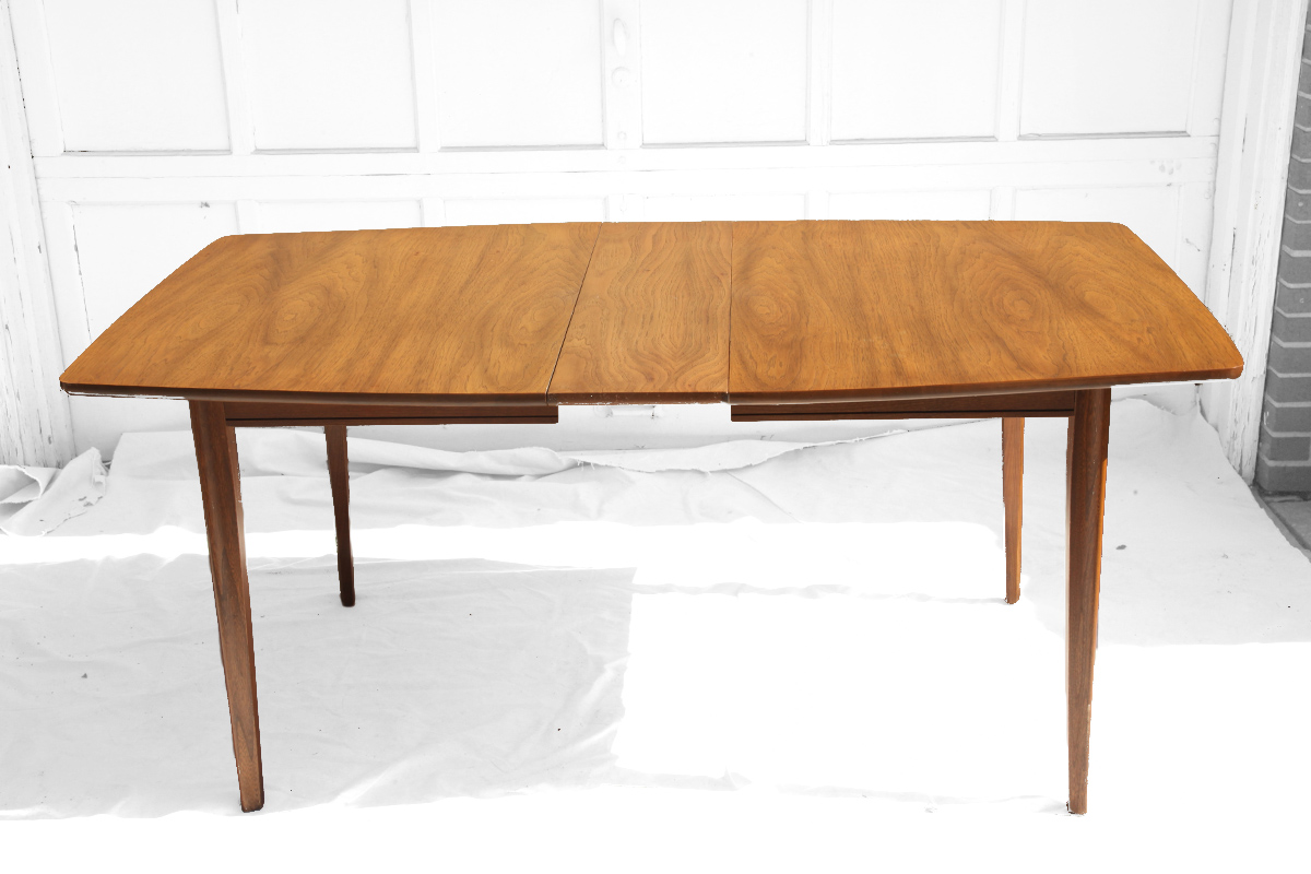 wooden table extension mid century modern furniture seattle