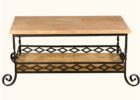 wrought iron coffee table with wood top and storage