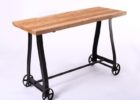 wrought iron coffee table with wood top and wheels