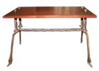 wrought iron coffee table with wood top for patio