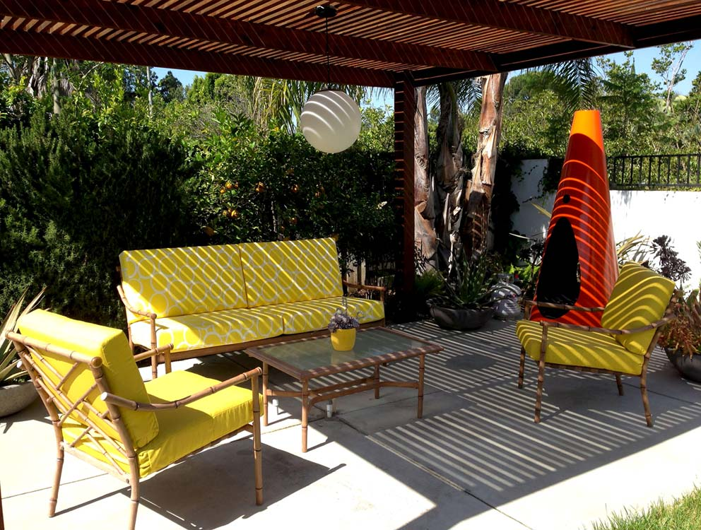 yellow mid century patio furniture for sale