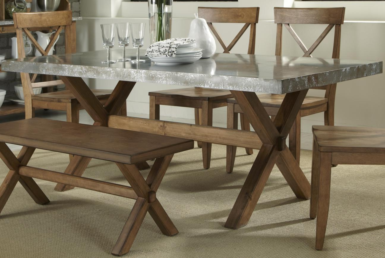 zinc top round dining table set