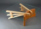 Awesome Cherry Wood Coffee Table With Glass Top