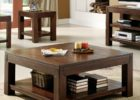 Awesome Large Square Dark Wood Coffee Table with Storages