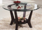 Awesome Round Glass Top Coffee Table With Wood Base