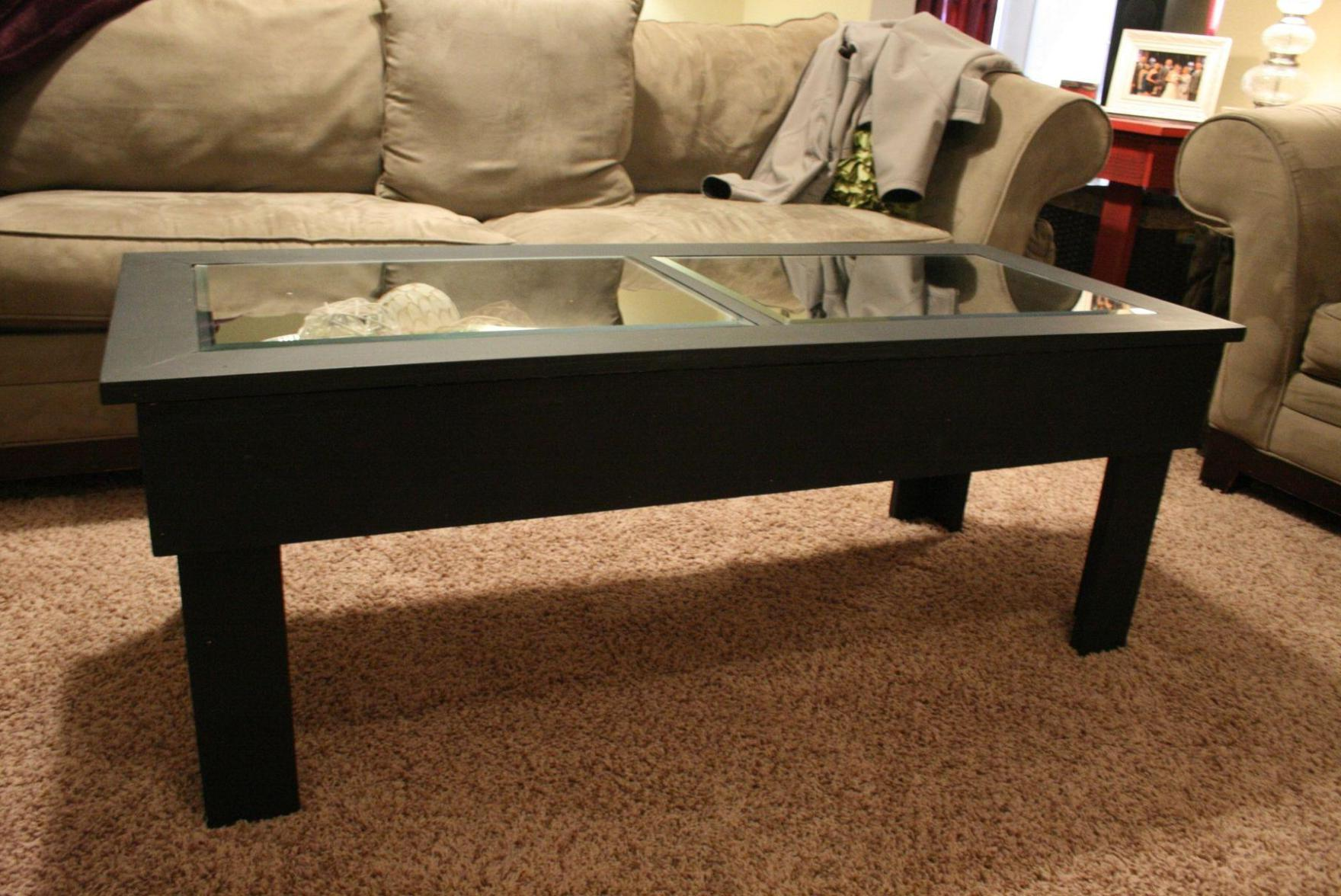 Black Cherry Wood Coffee Table With Glass Top
