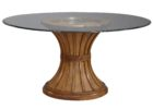 Black Round Glass Top Coffee Table With Wood Base