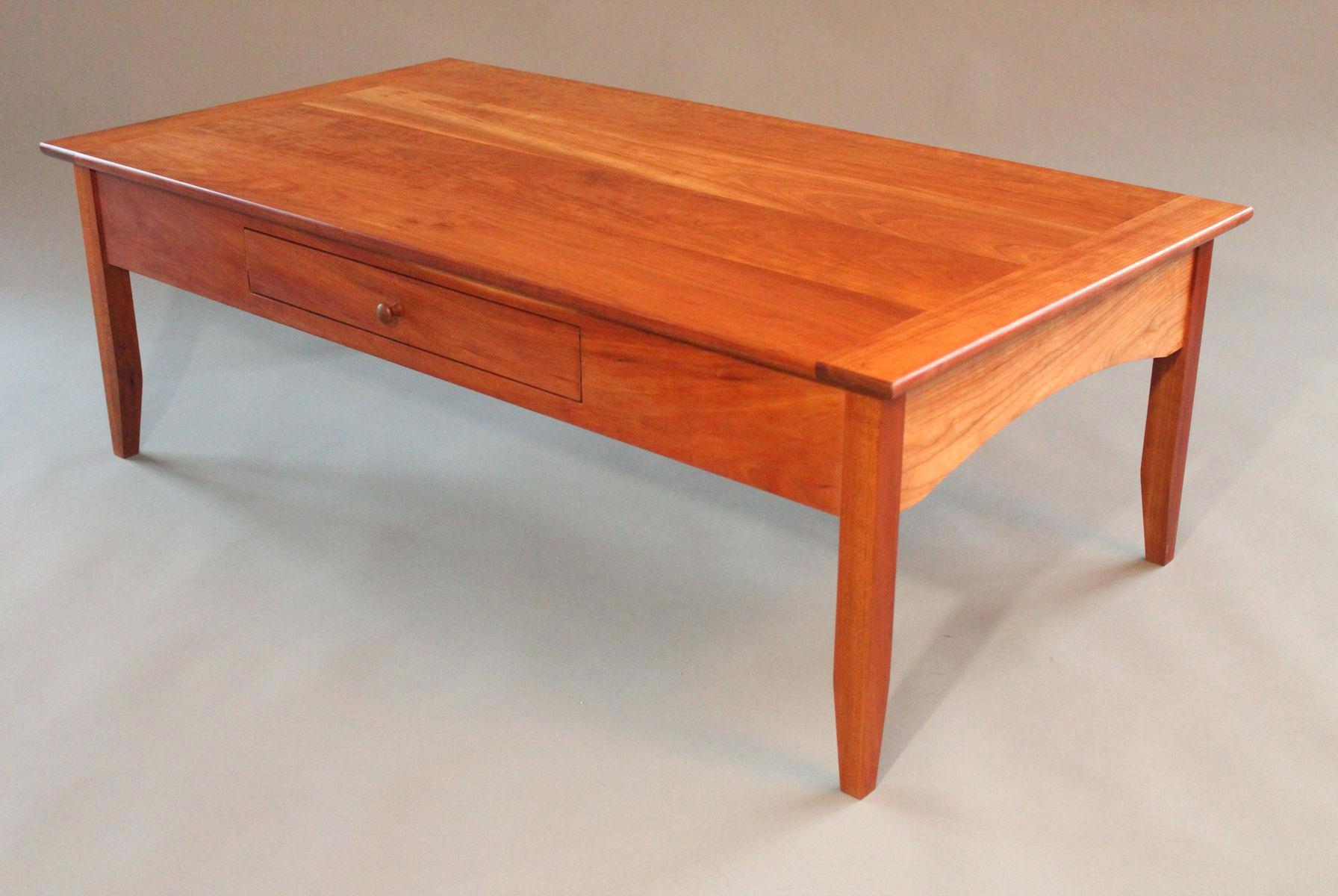 Cheap Cherry Wood Coffee Table With Glass Top Design