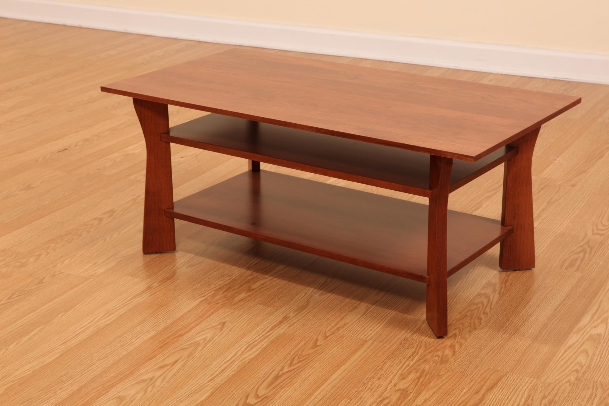 Cheap Cherry Wood Coffee Table With Glass Top and Storage