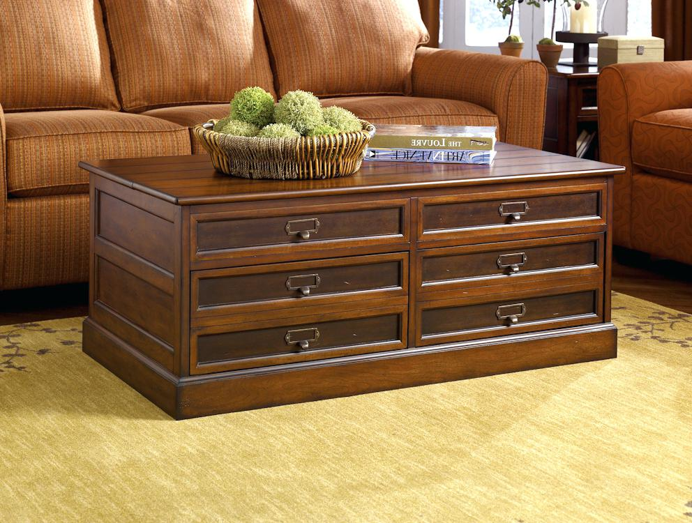 Cheap Dark Wood Trunk Coffee Table with Drawers