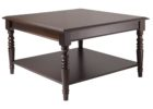 Cheap Large Square Dark Wood Coffee Table with Storage