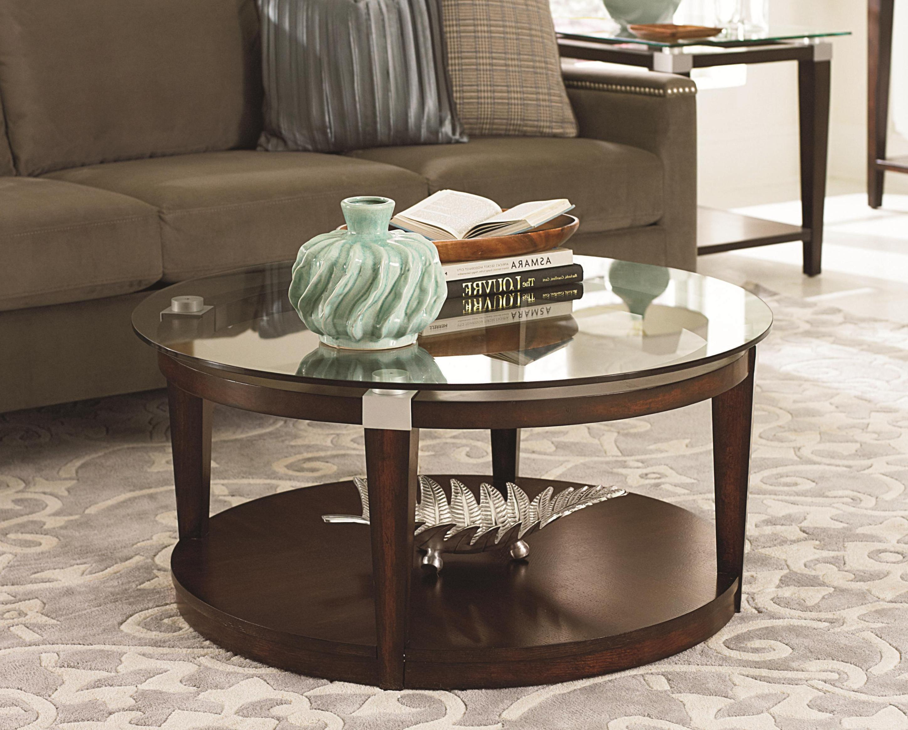 Cheap Round Glass Top Coffee Table With Wood Base