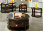 Cherry Wood Coffee Table With Glass Top Set Furniture