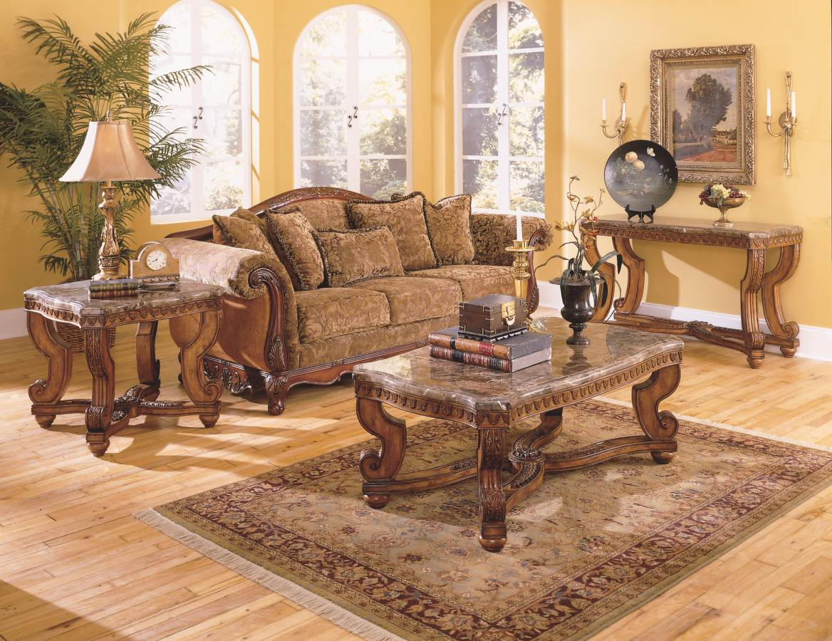 Cherry Wood Coffee Table With Glass Top Set Furnitures