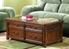 Cherry Wood Coffee Table With Glass Top and Drawer