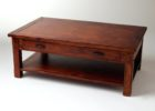 Cherry Wood Coffee Table With Glass Top and Drawers