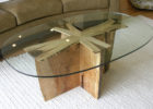 Cherry Wood Coffee Table With Glass Top and Driftwood Padestal