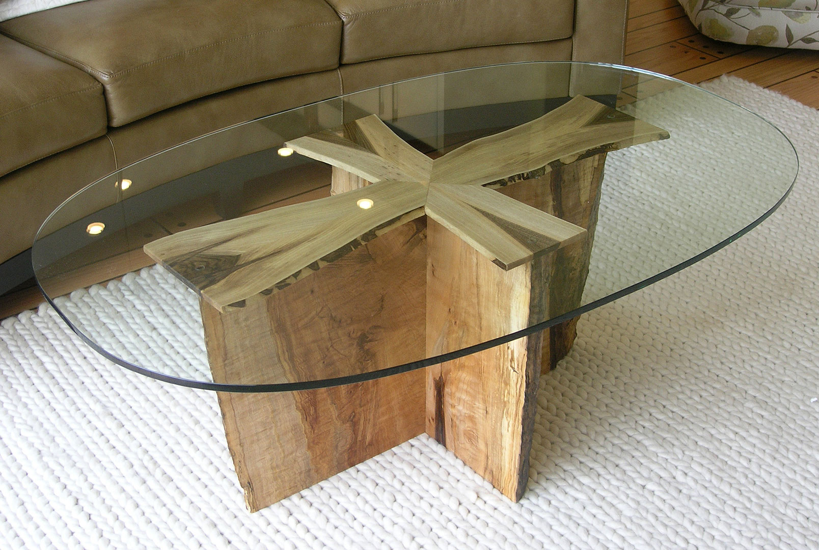 ... Cherry Wood Coffee Table With Glass Top And Driftwood Padestal
