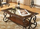 Cherry Wood Coffee Table With Glass Top and Metal Legs