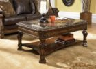 Cherry Wood Coffee Table With Glass Top and Storage