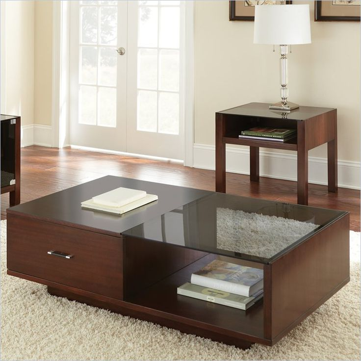 Cherry Wood Coffee Table With Glass Top and Storages also Drawers