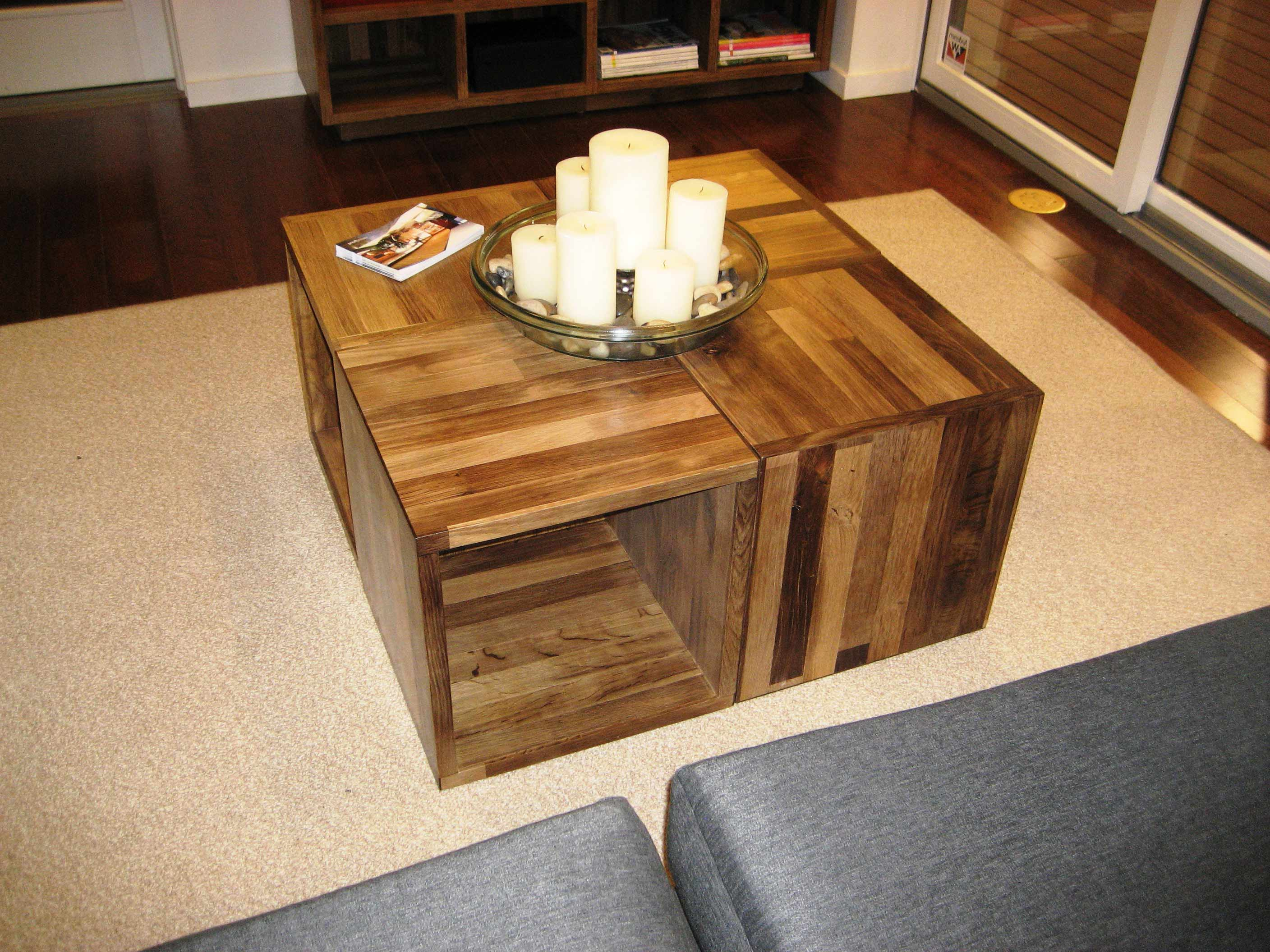 Cherry Wood Coffee Table With Glass Top and Storages