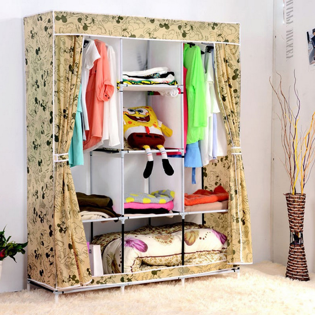 Clothes Wardrobe Armoire-DIY-Portable-Folding-Clothes-Closet-Wardrobe-Armoires