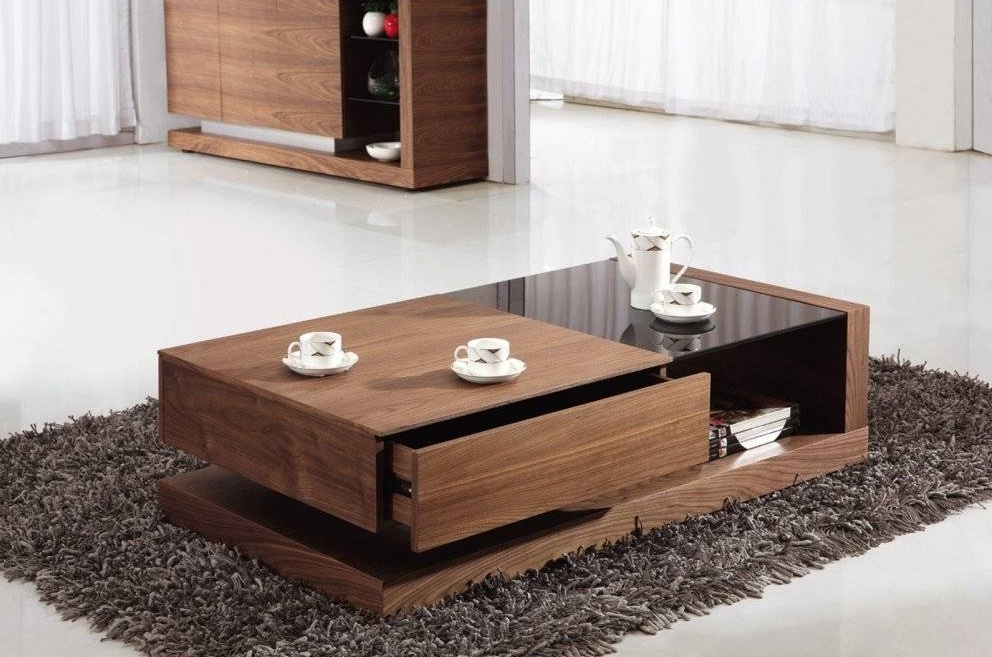 Contemporary Cherry Wood Coffee Table With Glass Top