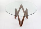 Contemporary Round Glass Top Coffee Table With Wood Base