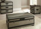 Dark Wood Trunk Coffee Table Furnitures Set