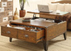 Dark Wood Trunk Coffee Table with Drawer