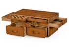 Dark Wood Trunk Coffee Table with Drawers