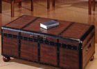 Dark Wood Trunk Coffee Table with Storage
