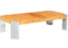 Faux Natural Wood And Chrome Coffee Table