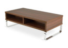 Faux Wood And Chrome Coffee Table with Storage
