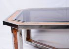 Glass Dark Wood And Chrome Coffee Table Top