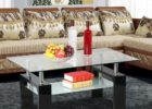 Glass Lennox Wood And Chrome Coffee Table