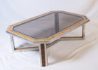 Glass Wood And Chrome Coffee Table